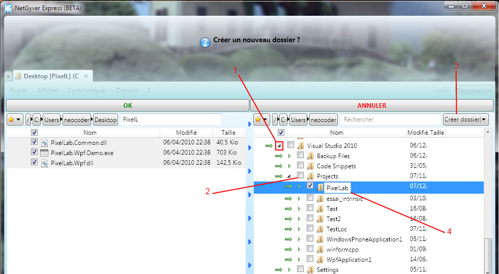 NetGyver screenshot: create a destination folder.