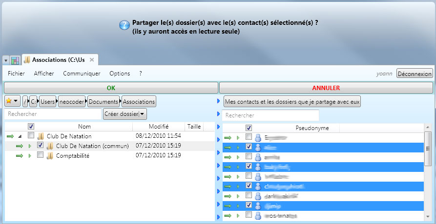 NetGyver screenshot: sharing a folder with many contacts.